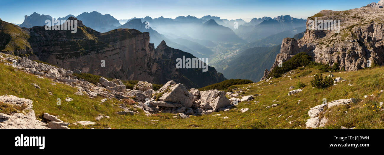 Wide view on the First and Second Pala di San Lucano, Dolomites, On the background on a succession of summits from - Stock Image