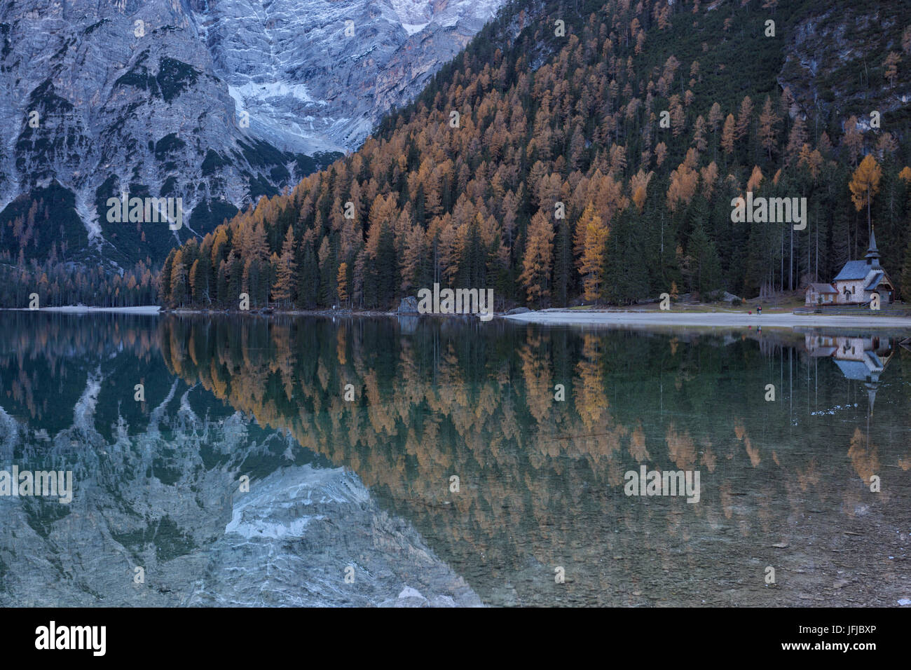 Europe, Italy, Trentino Alto Adige, Bolzano district, Braies lake - Stock Image