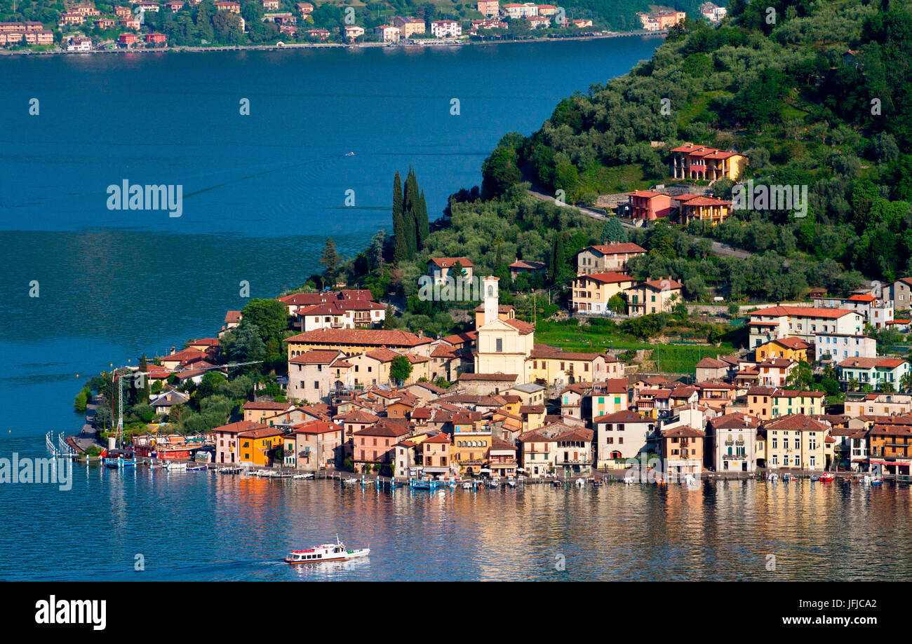 The town of Peschiera Maraglio, Lake Iseo, Lombardy, Itay, Europe - Stock Image