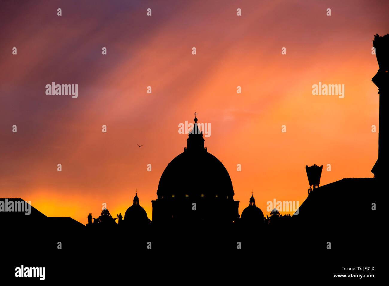 Europe, Italy, Lazio, Rome, Silhouette of St. Peter's Basilica's Dome Stock Photo