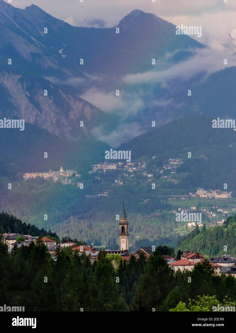 Lorenzago di Cadore, Dolomiti, Veneto, Italy, Lorenzago di Cadore and a rainbow - Stock Image