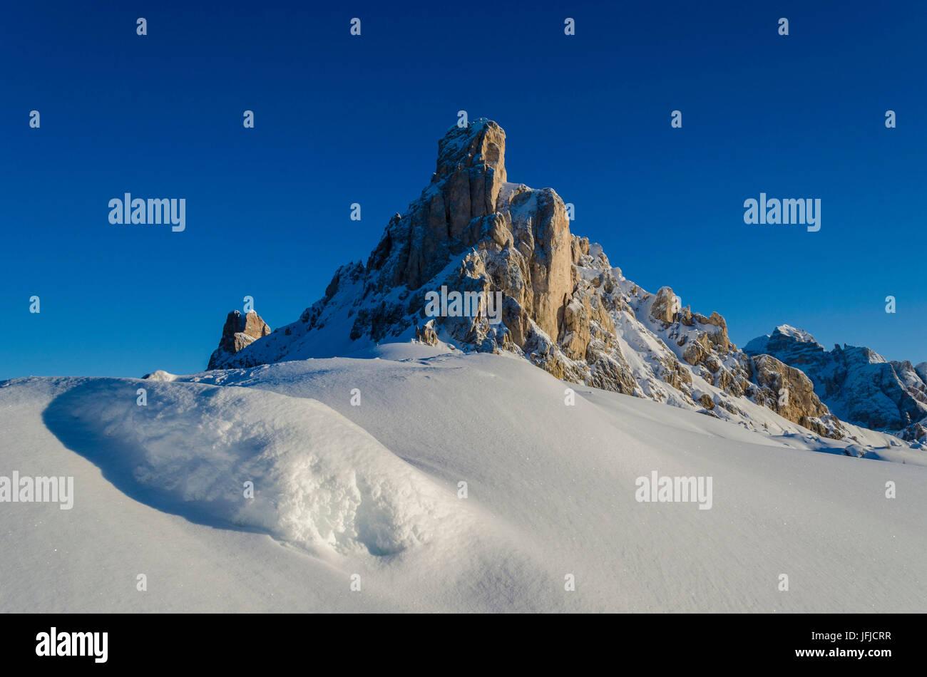 Ra Gusela, Giau Pass, Cortina d'Ampezzo, Dolomiti, Dolomites, Veneto, Italy, Sunrise at Giau Pass - Stock Image