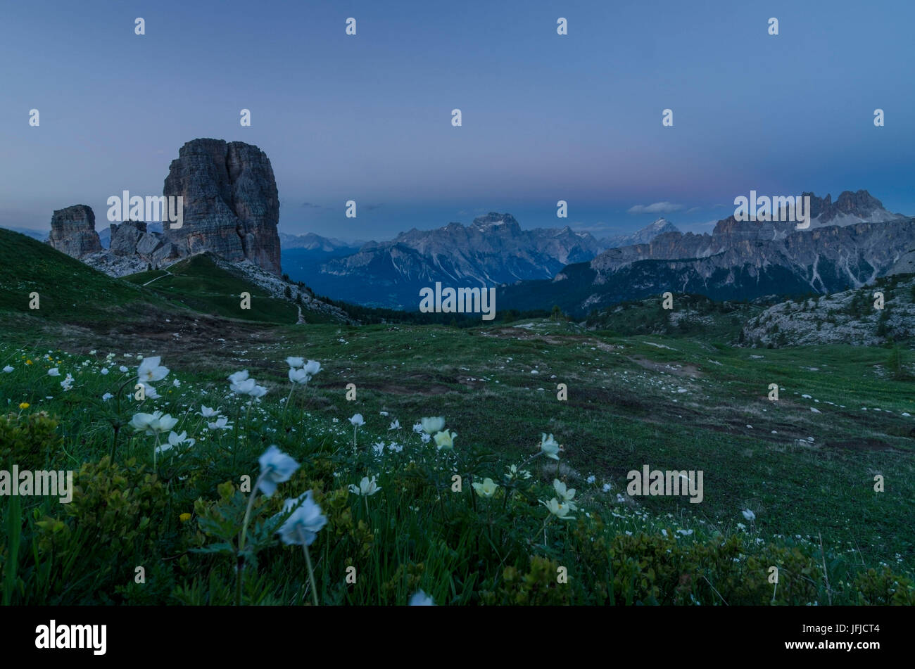 Cinque Torri, Falzarego Pass, Cortina d'Ampezzo, Dolomiti, Dolomites, Veneto, Italy, Cinque Torri - Stock Image