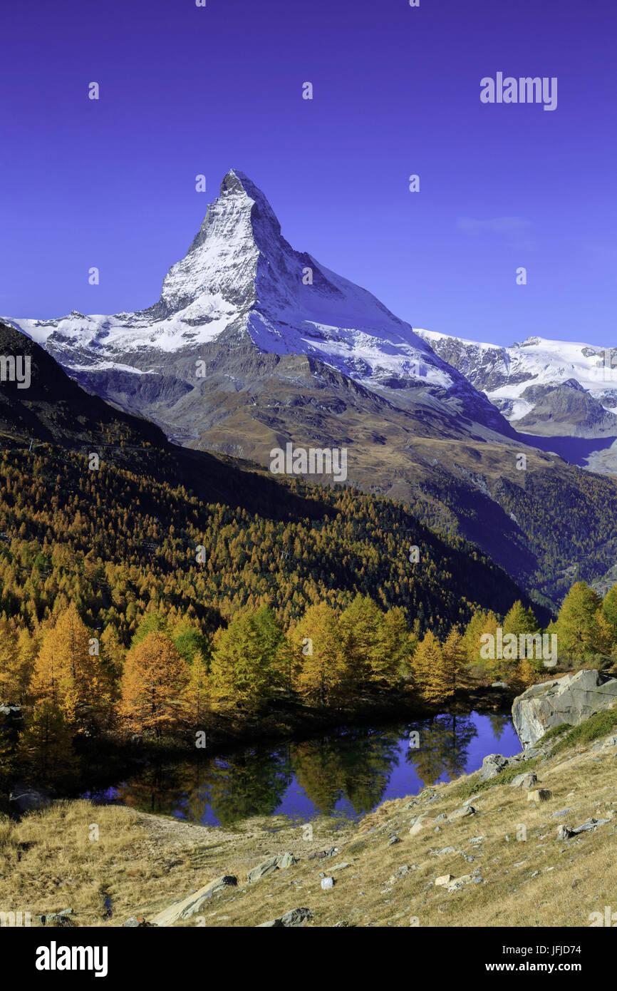 Matterhorn from Grindjisee lake, in Autumn, Zermatt, Switzerland, europe Stock Photo