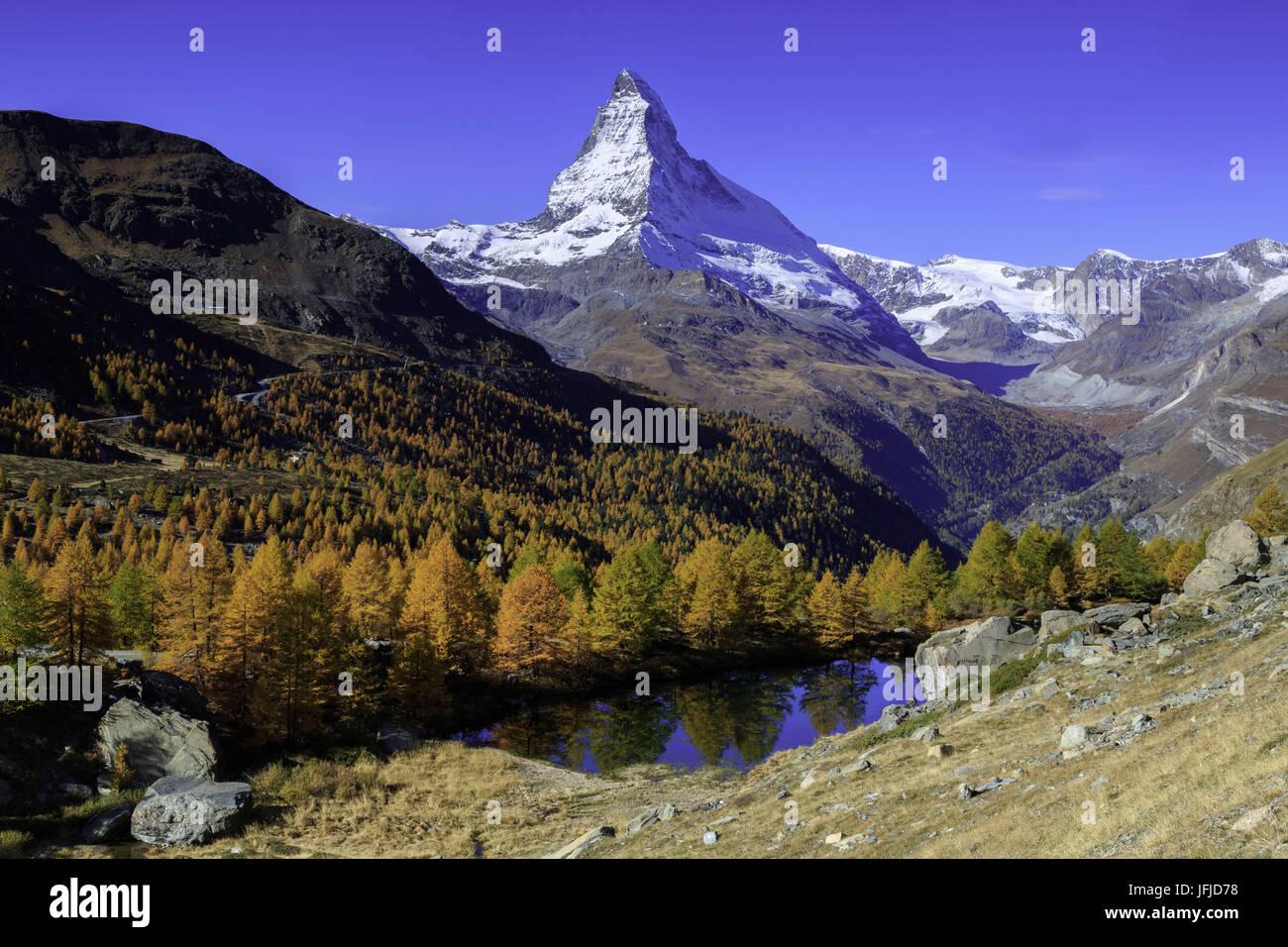 Matterhorn and Grindjisee lake in Autumn, Zermatt, Switzerland, europe Stock Photo