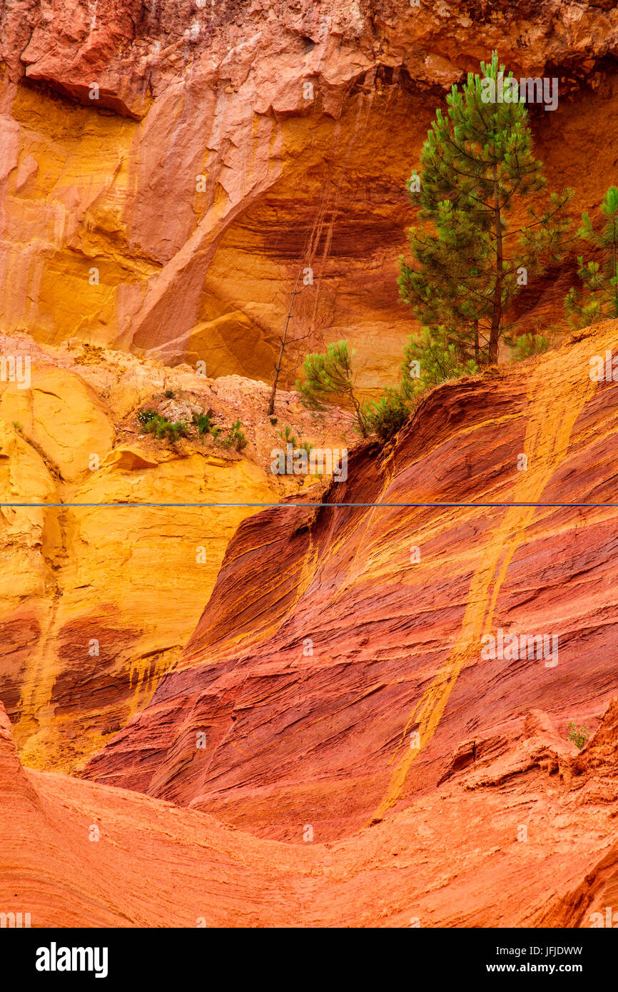 Roussillon, Provence, France, A detail of ocher quarries in Roussillon, - Stock Image