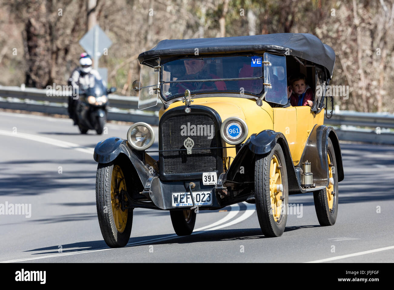Vintage 1923 Dodge Four Tourer driving on country roads near the town of Birdwood, South Australia. - Stock Image