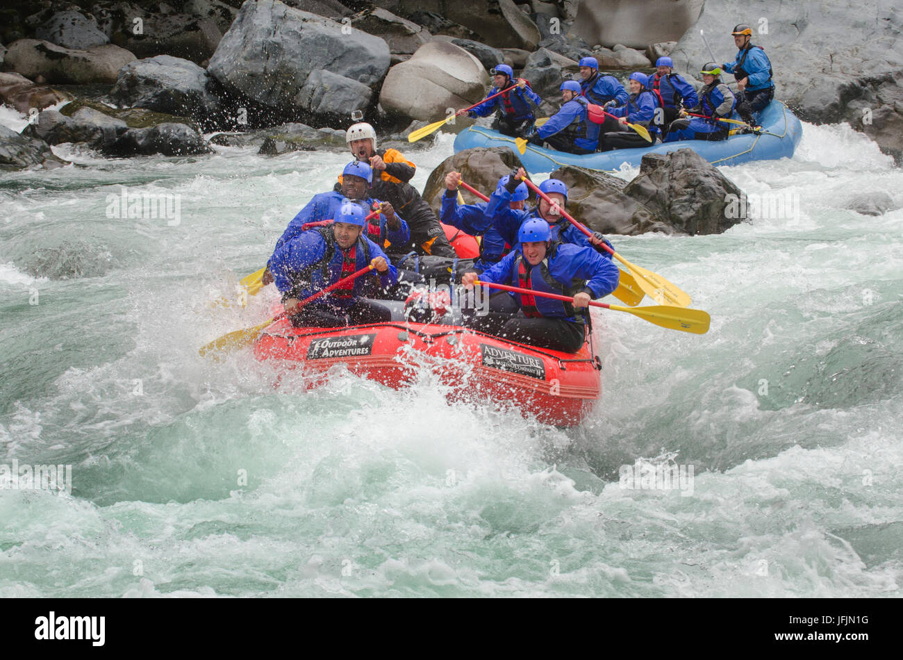Whitewater rafting on the Skykomish River, Washington - Stock Image
