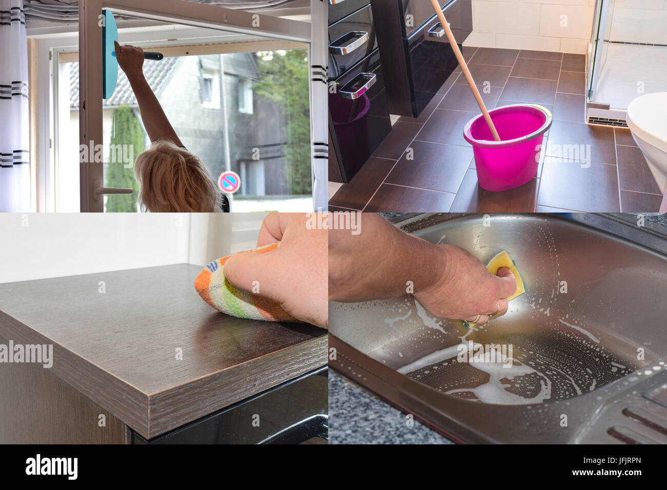 Image is divided into 4 sections about housework - Stock Image