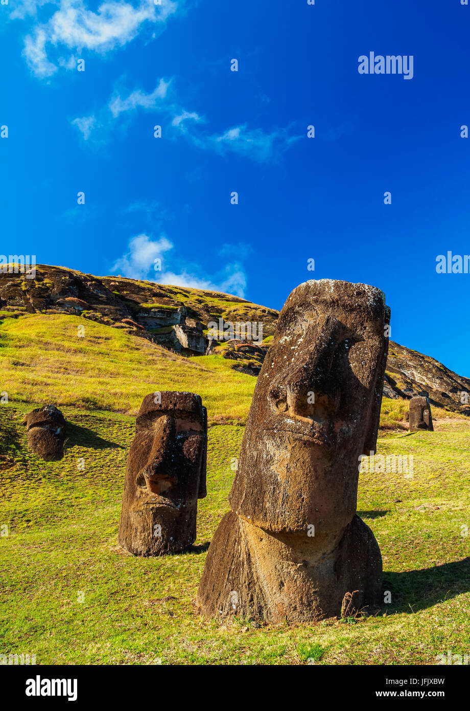 Moais at the quarry on the slope of the Rano Raraku Volcano, Rapa Nui National Park, Easter Island, Chile - Stock Image