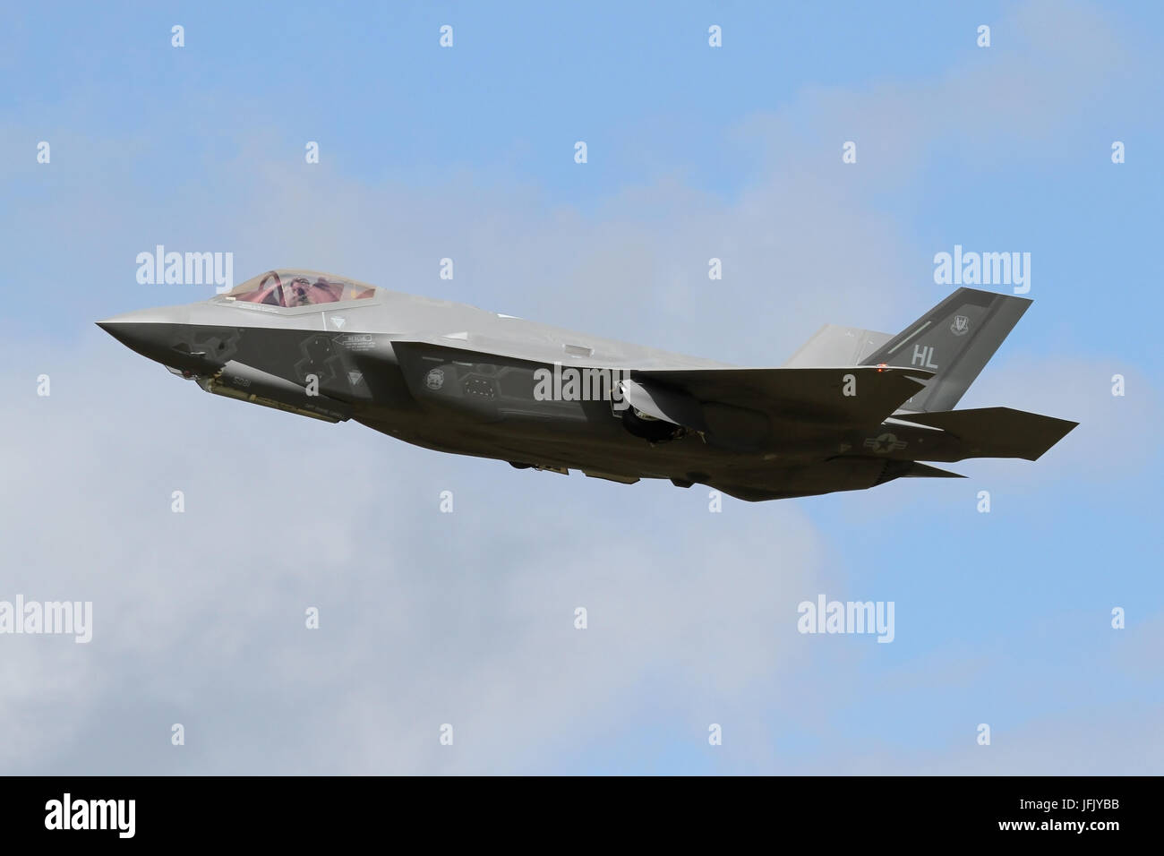 USAF F-35A Lightning IIs landing and overshooting RAF Lakenheath during the types first operational deployment overseas. - Stock Image