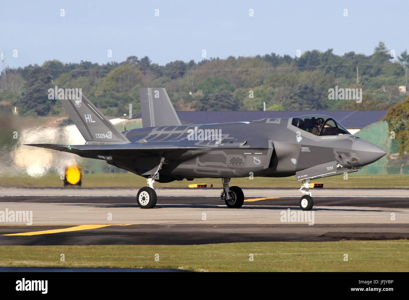 Two F-35A's from the USAF's first overseas deployment departing RAF Lakenheath for Bulgaria for a days deployment. - Stock Image