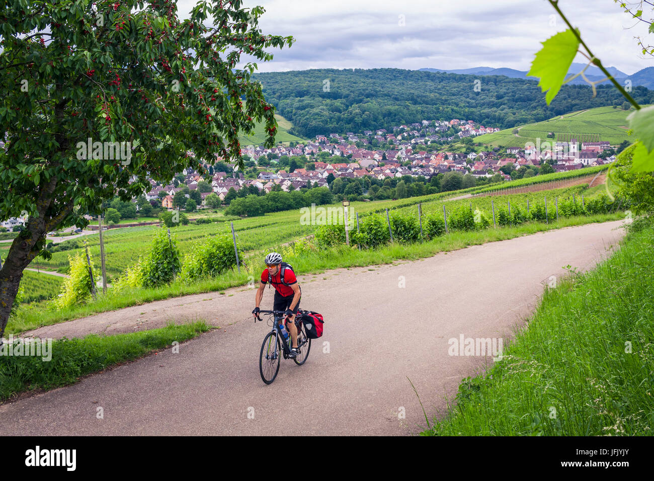 Man on solo bicycle road trip - Stock Image