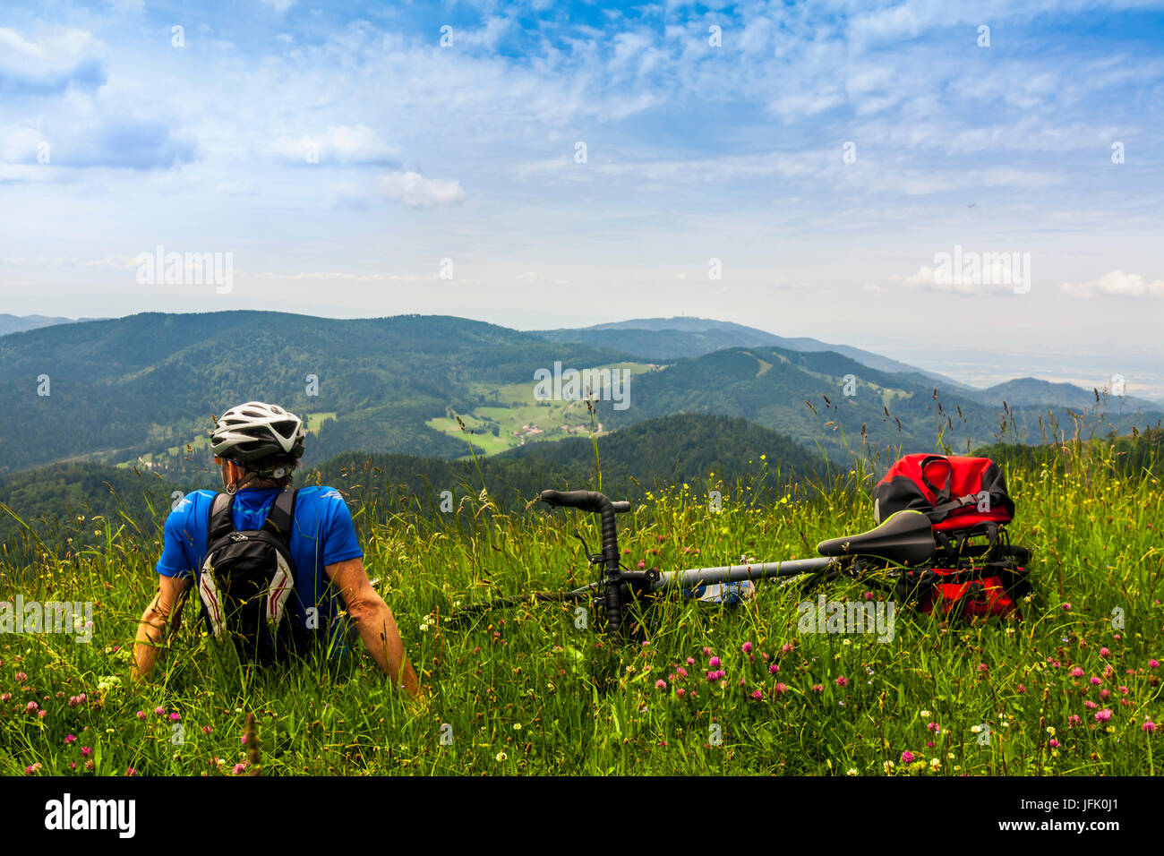 Rear view of man relaxing on grass and looking at mountains Stock Photo
