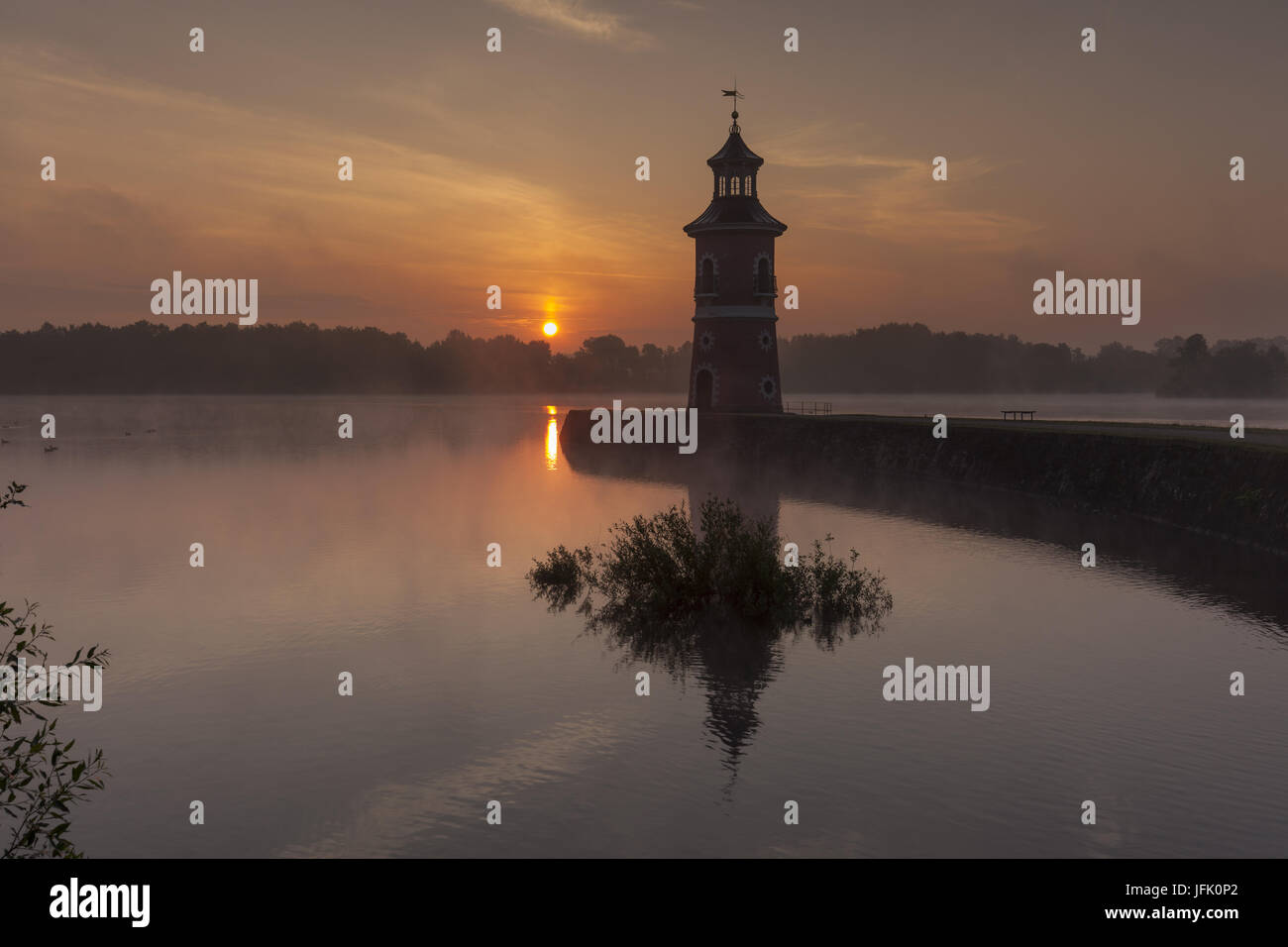 Moritzburg Lighthouse with jetty, saxony Stock Photo