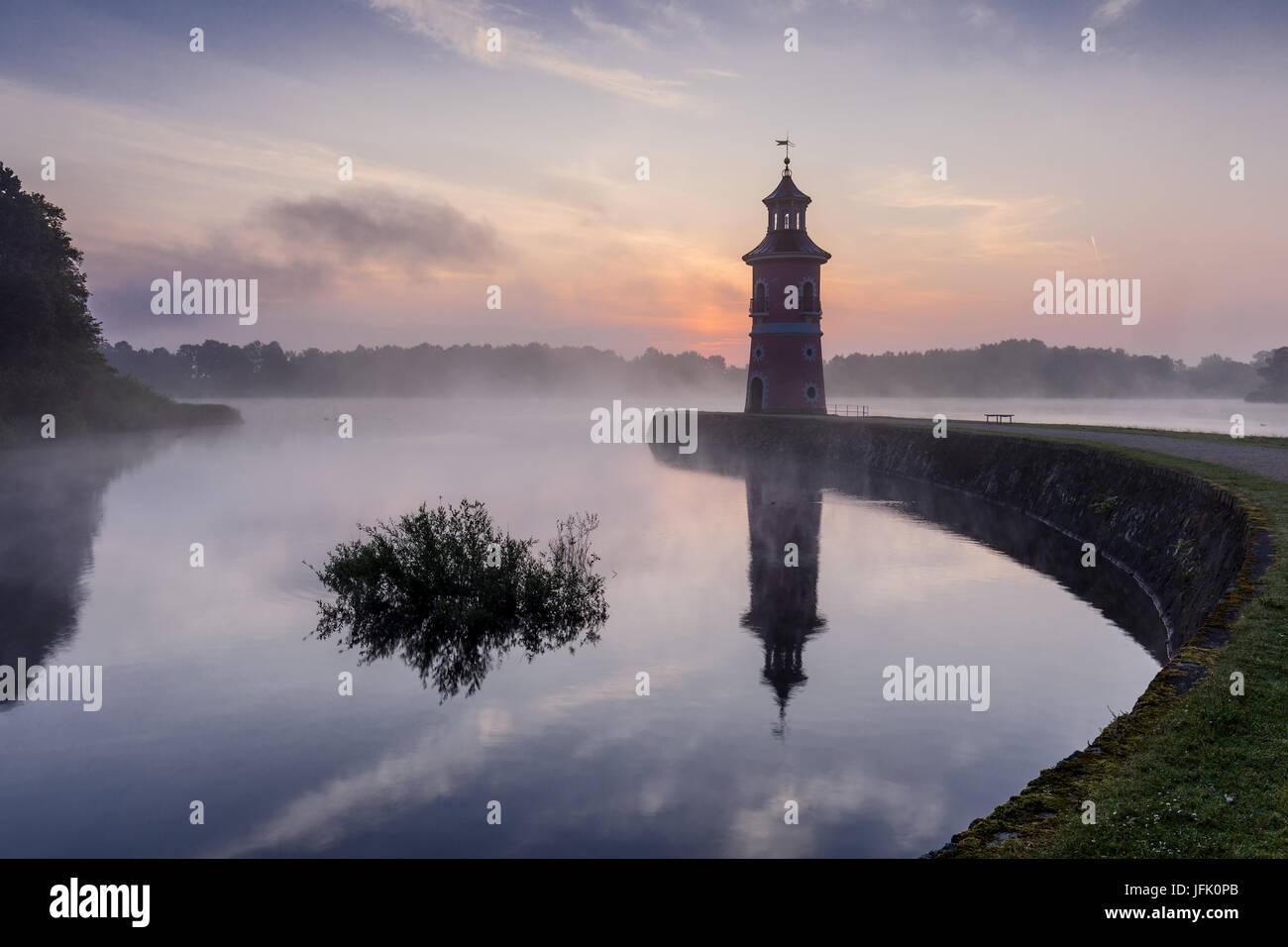 Moritzburg Lighthouse with jetty, saxony Stock Photo
