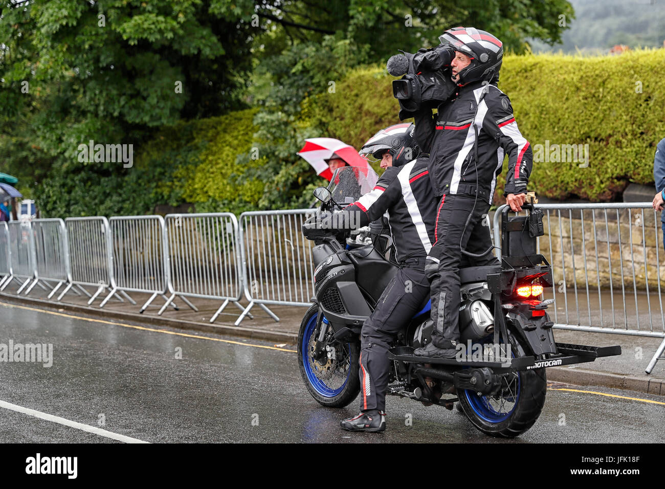 Motorcycle cameramen filming Otley Cycle race - Stock Image