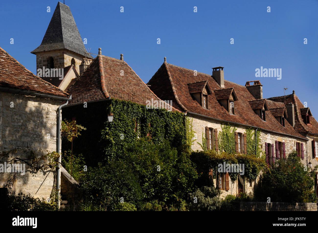 Medieval Village of Loubressac, Lot, France Stock Photo