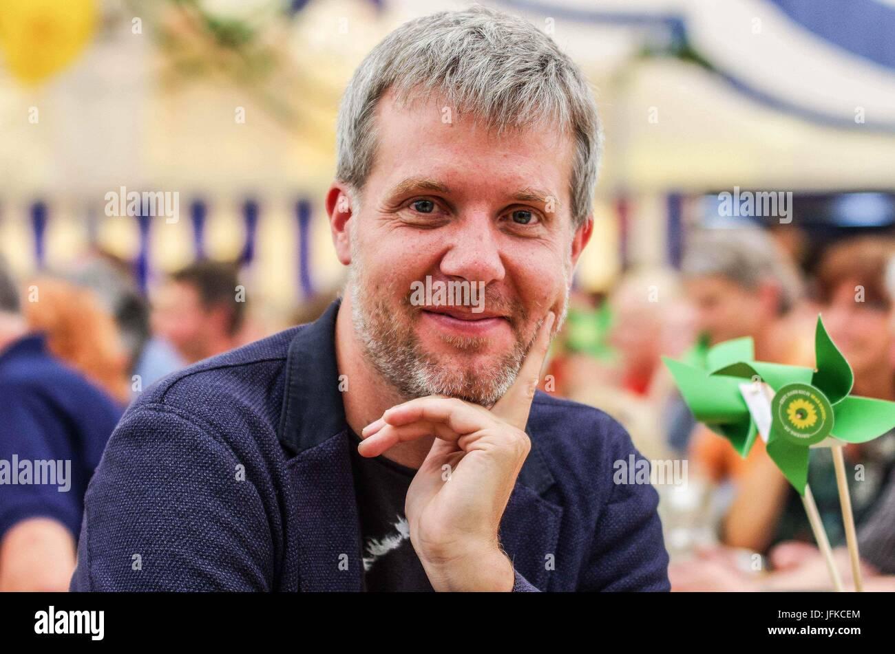 Tutzing, Bayern, Germany. 1st July, 2017. Dieter Janacek of the Bavarian Greens and Bundestag representative. Green Stock Photo