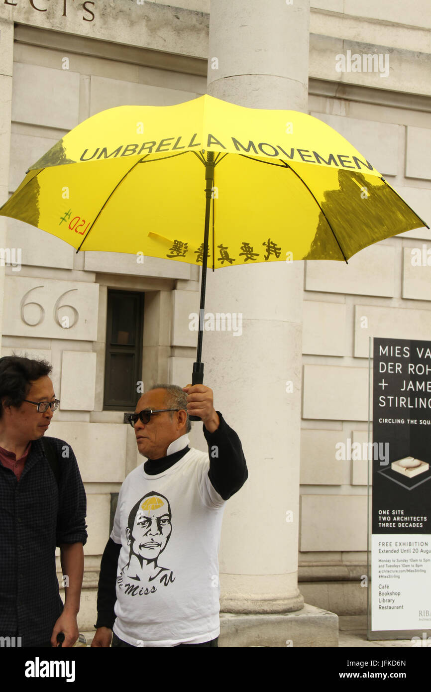 LONDON, UK - July 1, 2017: Stephen Lui the spokesperson for the Chinese Solidarity Campaign with Umbrella movement - Stock Image