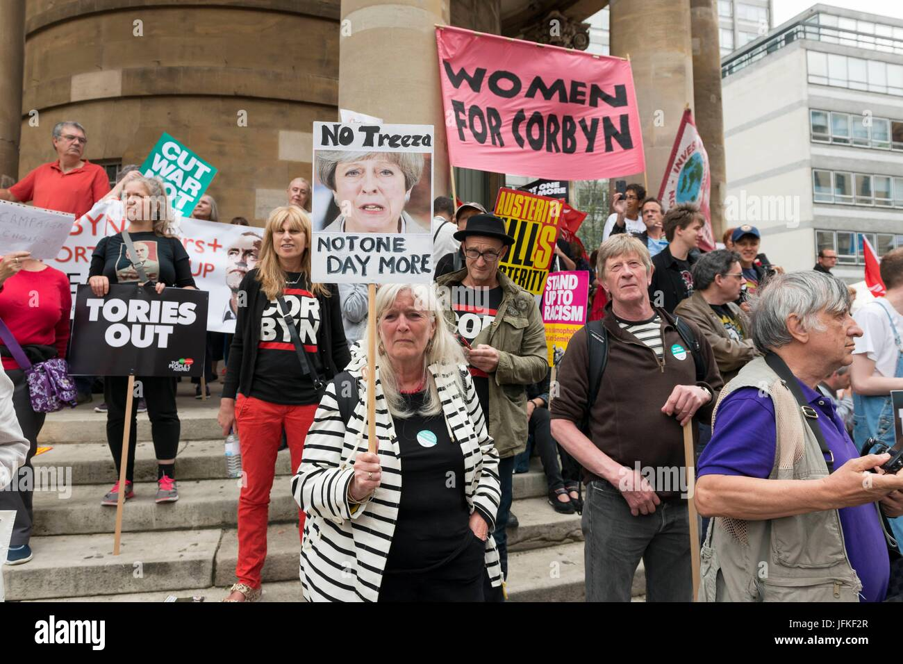 London, United Kingdom Of Great Britain And Northern Ireland. 01st July, 2017. Protesters with banners at Not One - Stock Image