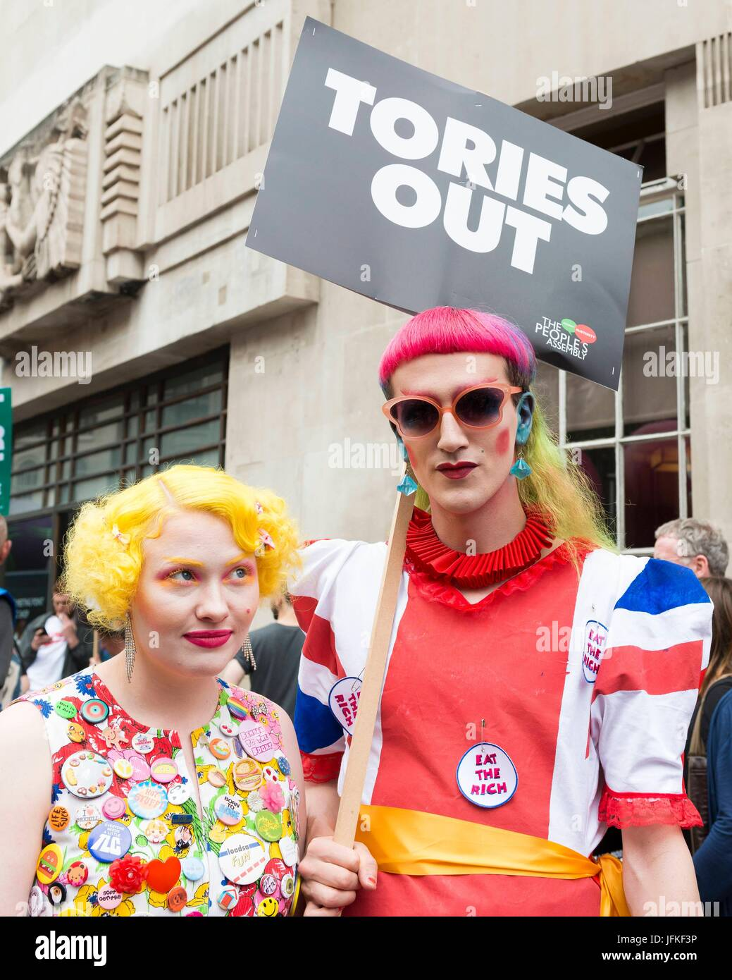 London, United Kingdom Of Great Britain And Northern Ireland. 01st July, 2017. Protesters with a banner at Not One - Stock Image