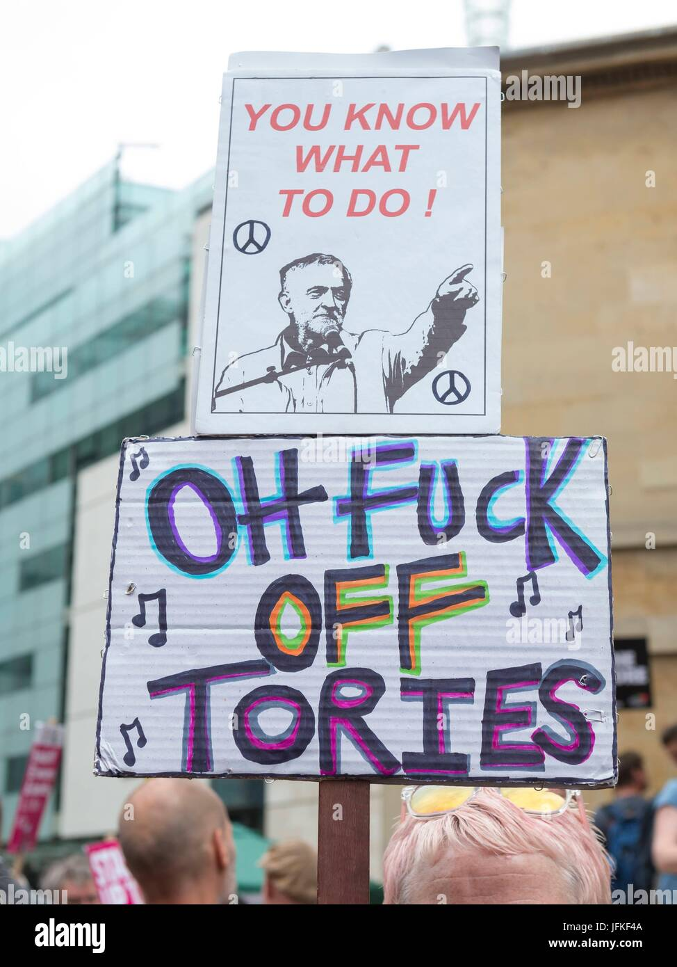 London, United Kingdom Of Great Britain And Northern Ireland. 01st July, 2017. Banners at Not One Day More, Tories - Stock Image