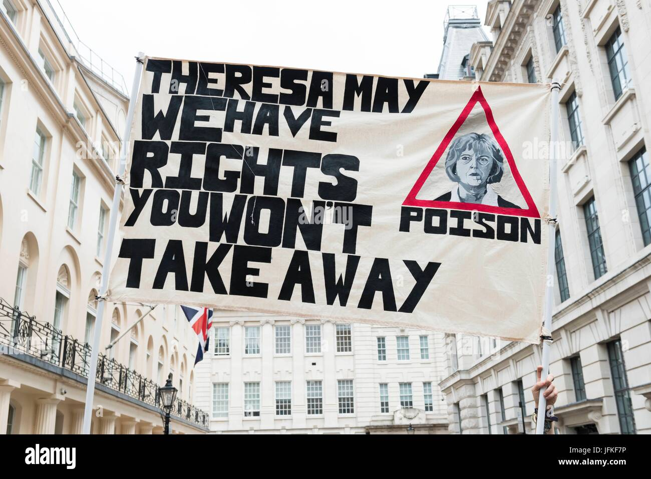 London, United Kingdom Of Great Britain And Northern Ireland. 01st July, 2017. Banner at Not One Day More, Tories - Stock Image