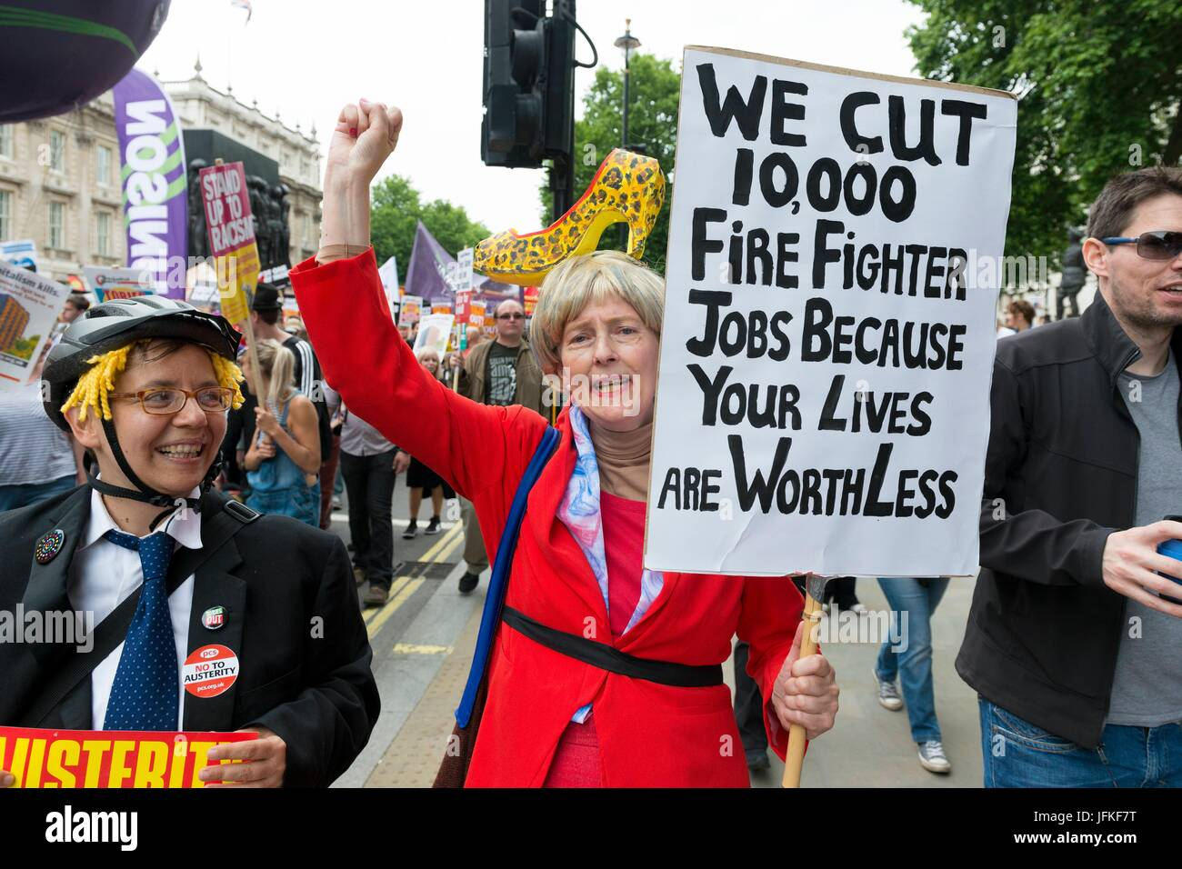 London, United Kingdom Of Great Britain And Northern Ireland. 01st July, 2017. Protester with a banner at Not One - Stock Image