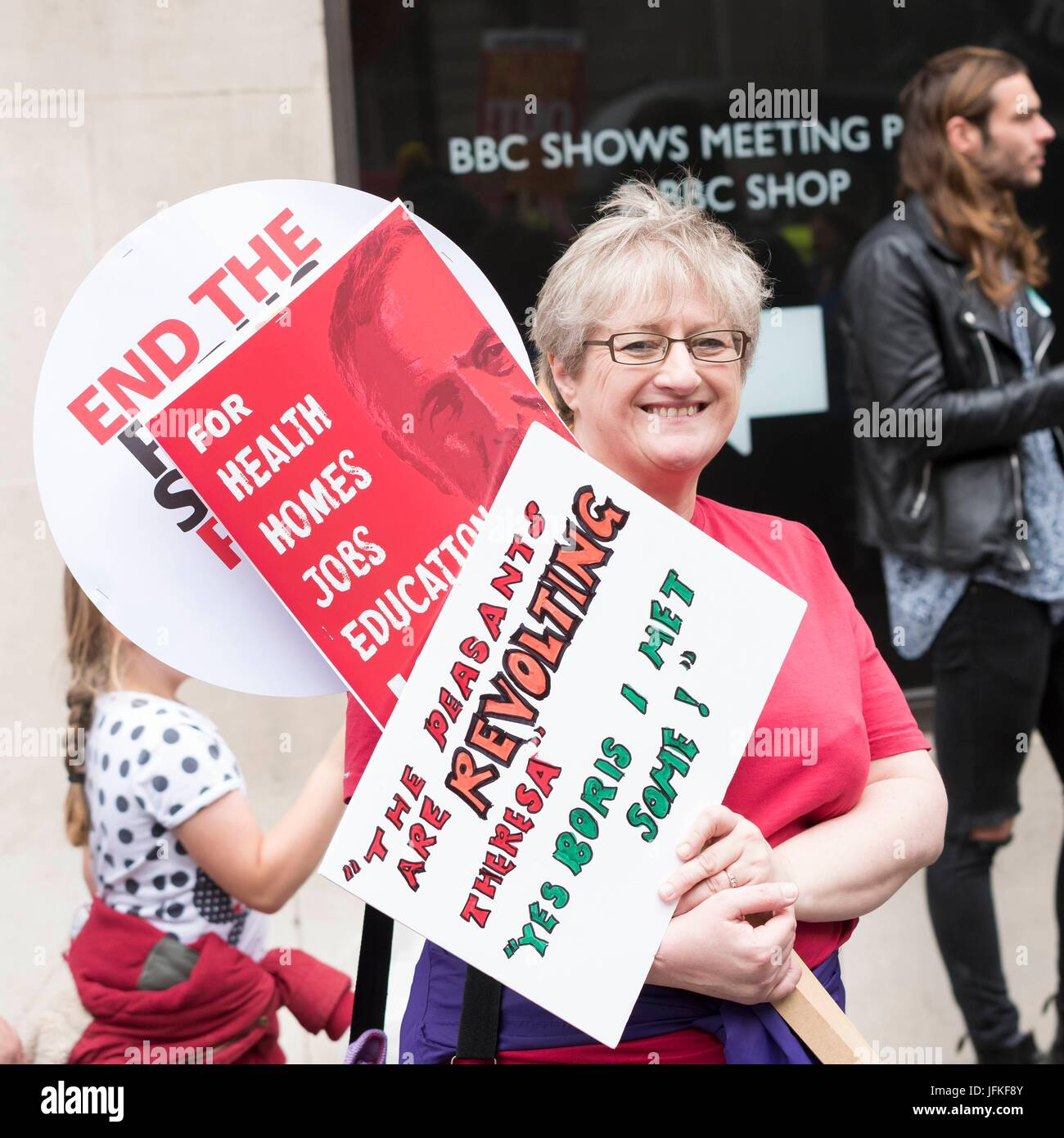 London, United Kingdom Of Great Britain And Northern Ireland. 01st July, 2017. Protester with banners at Not One - Stock Image