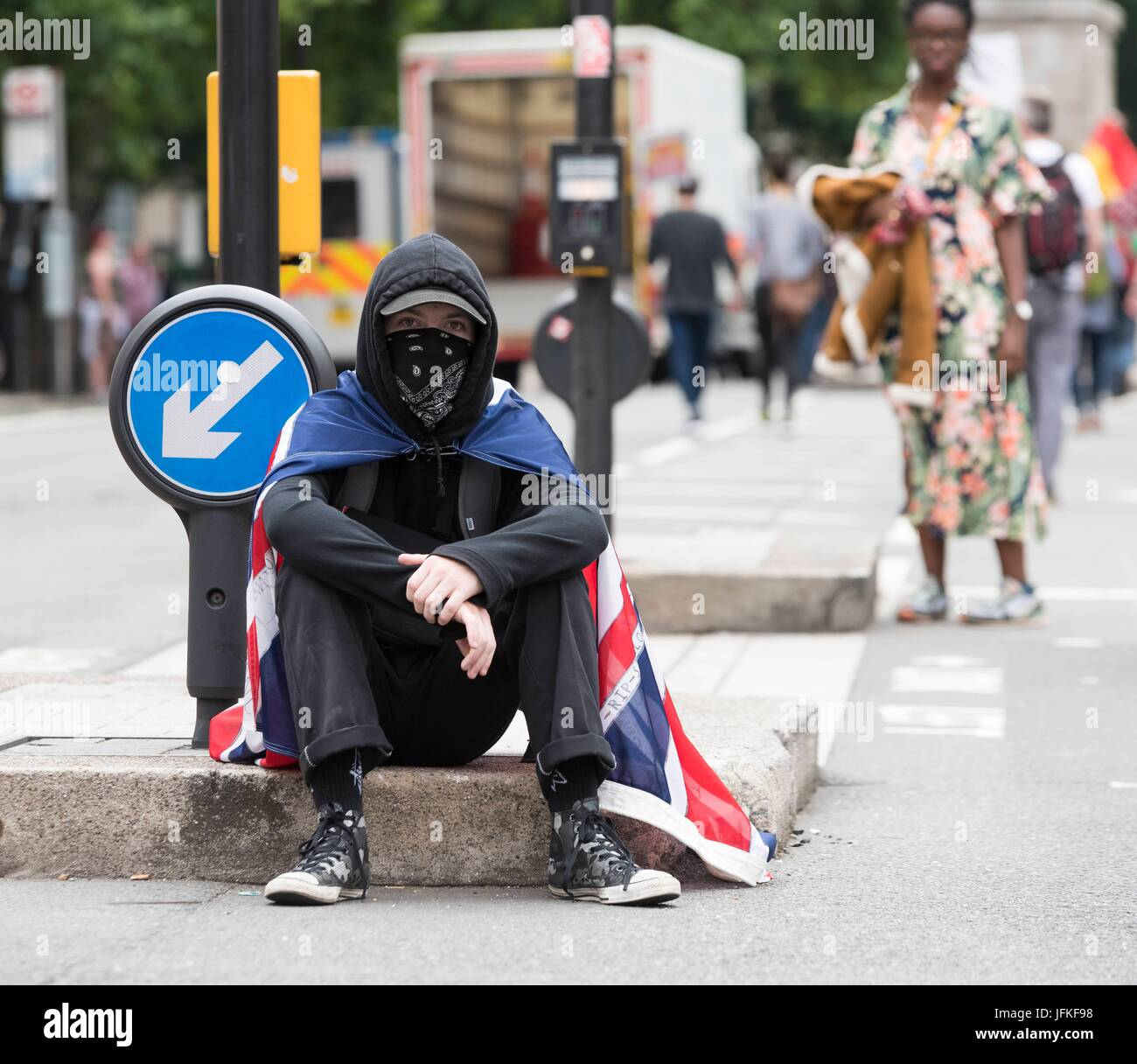 London, United Kingdom Of Great Britain And Northern Ireland. 01st July, 2017. Protester at Not One Day More, Tories - Stock Image