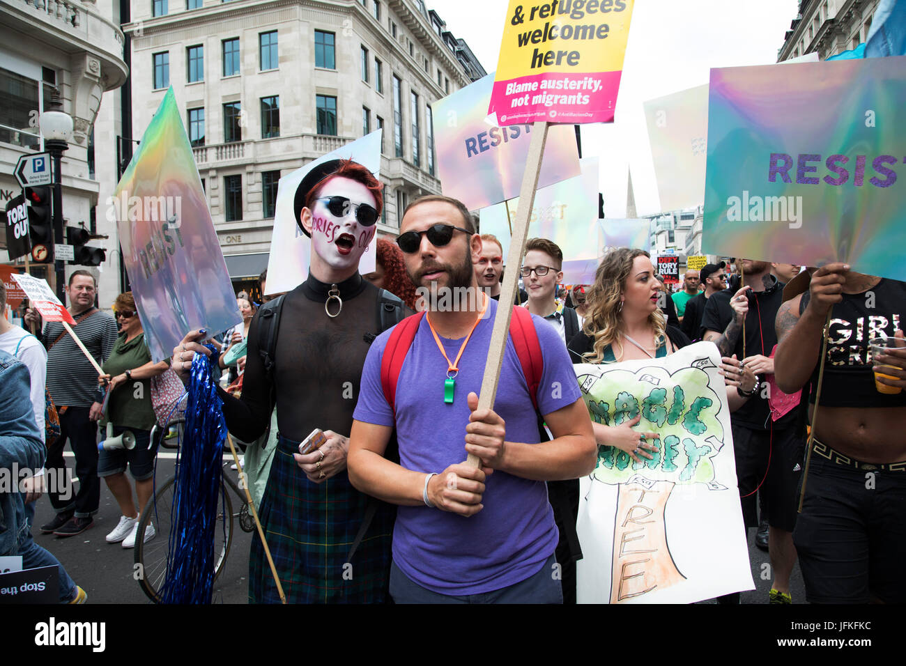 London, UK. 01st July, 2017. Peoples Assembly National Demonstration Against Theresa May and Austerity - Not One Stock Photo
