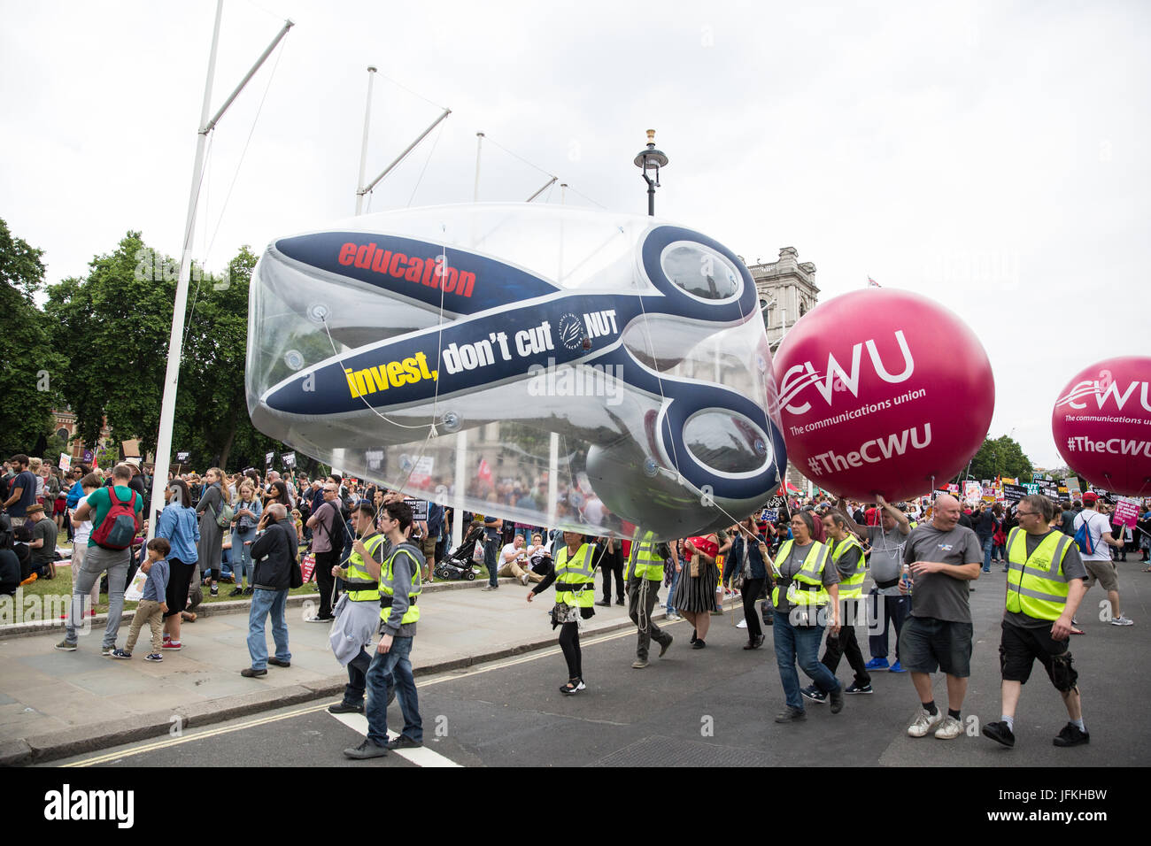 London, UK. 1st July, 2017. NUT and CWU members among thousands of people from many different campaign groups and - Stock Image
