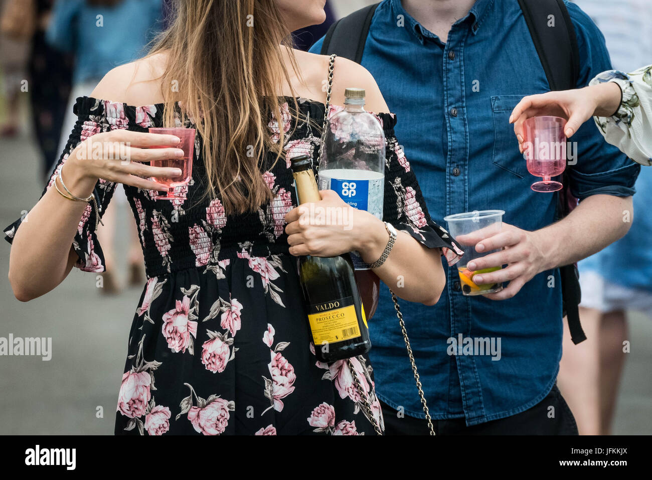 Henley-on-Thames, Oxfordshire, UK. 1st July, 2017. Alcohol consumption during Henley Royal Regatta. Credit: Guy - Stock Image