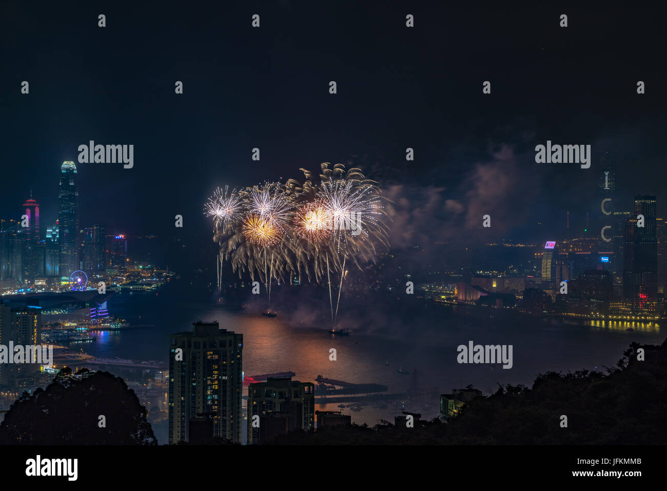 Hong Kong. 01st July, 2017. Fireworks at Victoria Harbour, Hong Kong. Commemorating 20th anniversary of Hong Kong - Stock Image
