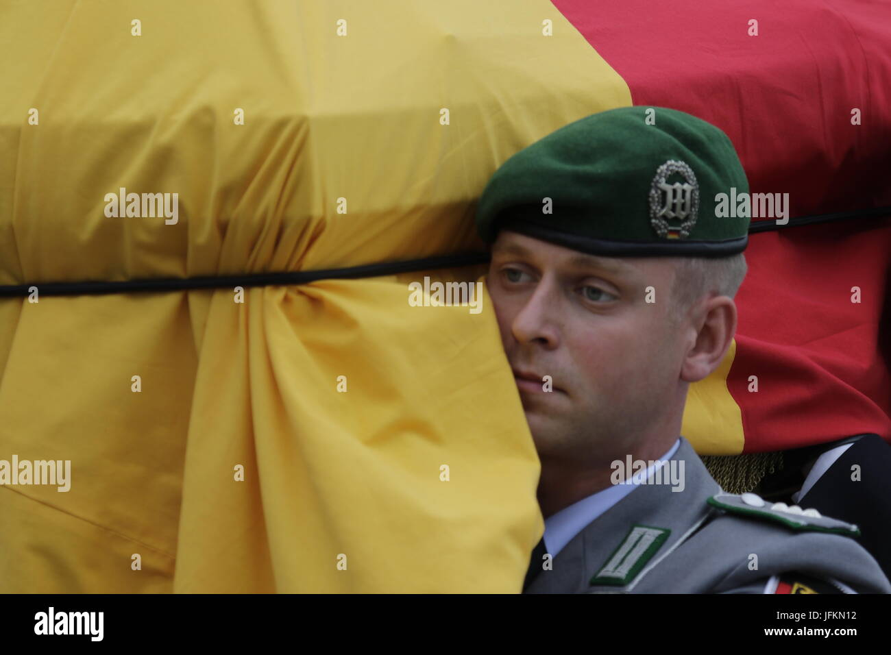 Close-up of the soldiers carrying the coffin of Helmut Kohl.The coffin of former German Chancellor Helmut Kohl arrived - Stock Image