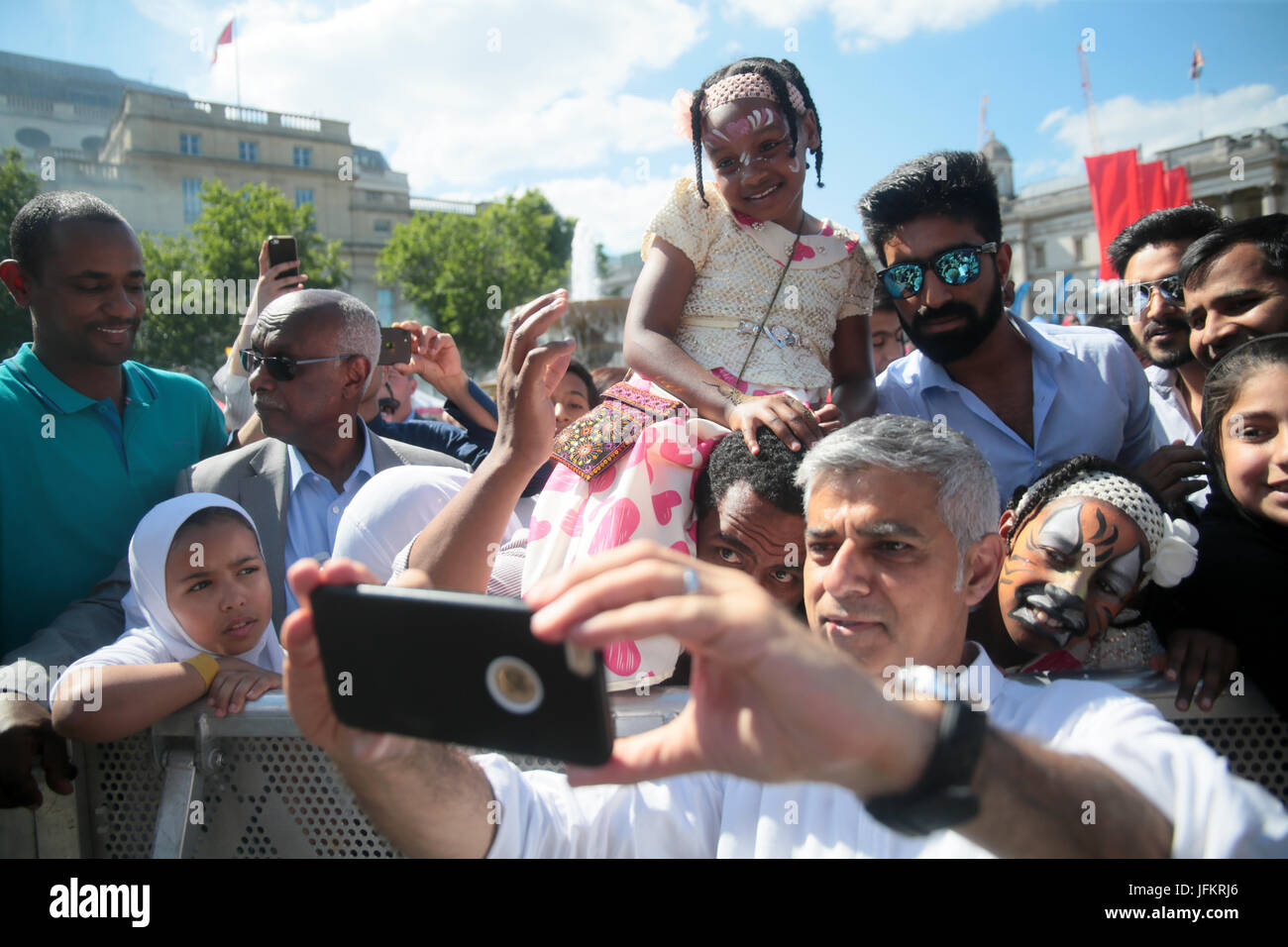 London, UK. 2nd July, 2017. Eid celebrations saw the London Mayor Sadiq Khan meeting some of the large crowd who - Stock Image