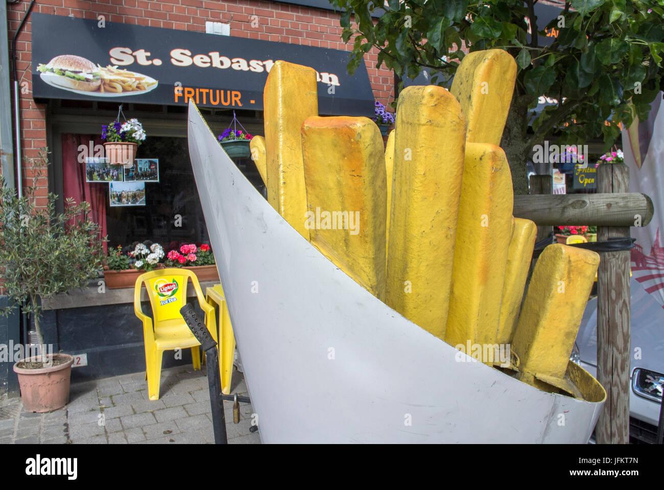 A food shop in Messines, West Flanders, Belgium. - Stock Image