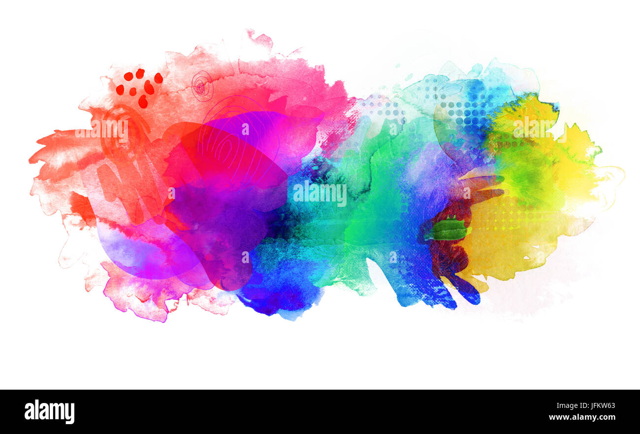 rainbow bright abstract isolated on white background - Stock Image