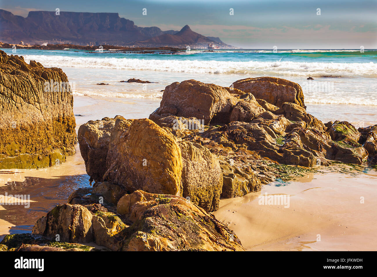 Bloubergstrand with a view of the Tafelberg and Cape Town - Stock Image