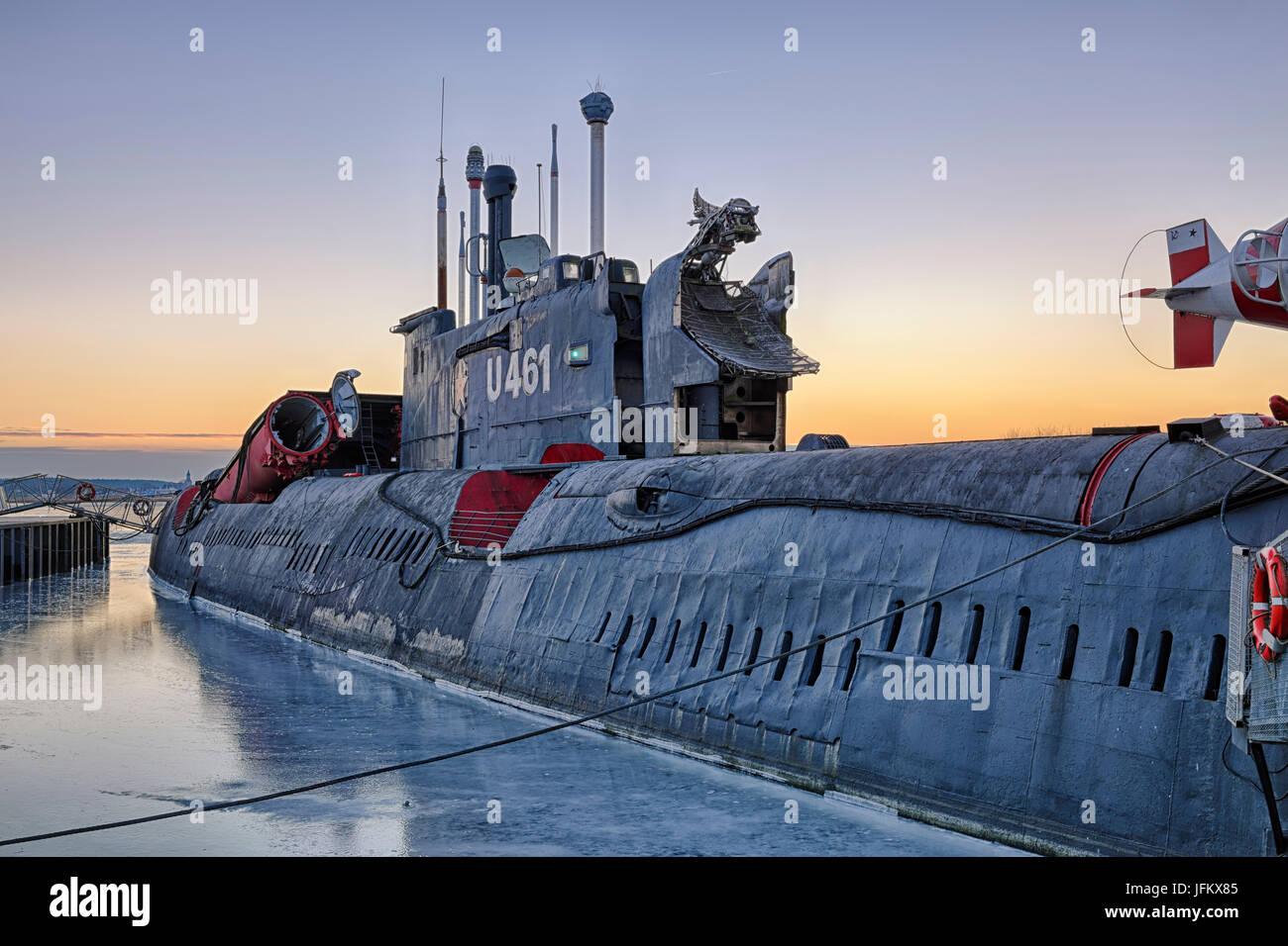 Submarine, U-461, Maritime Museum, Peenemünde, Usedom, Mecklenburg-Western Pomerania, Germany - Stock Image