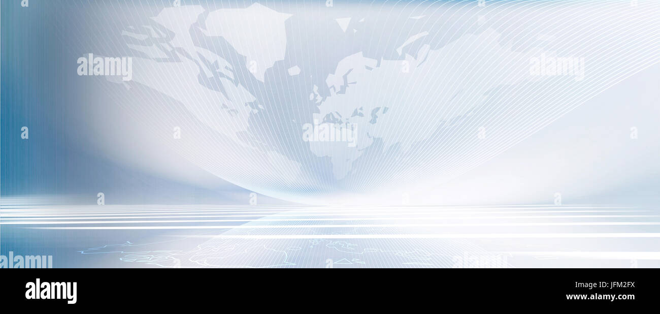 motion lines gradient banner horizon with world map textur outline - Stock Image