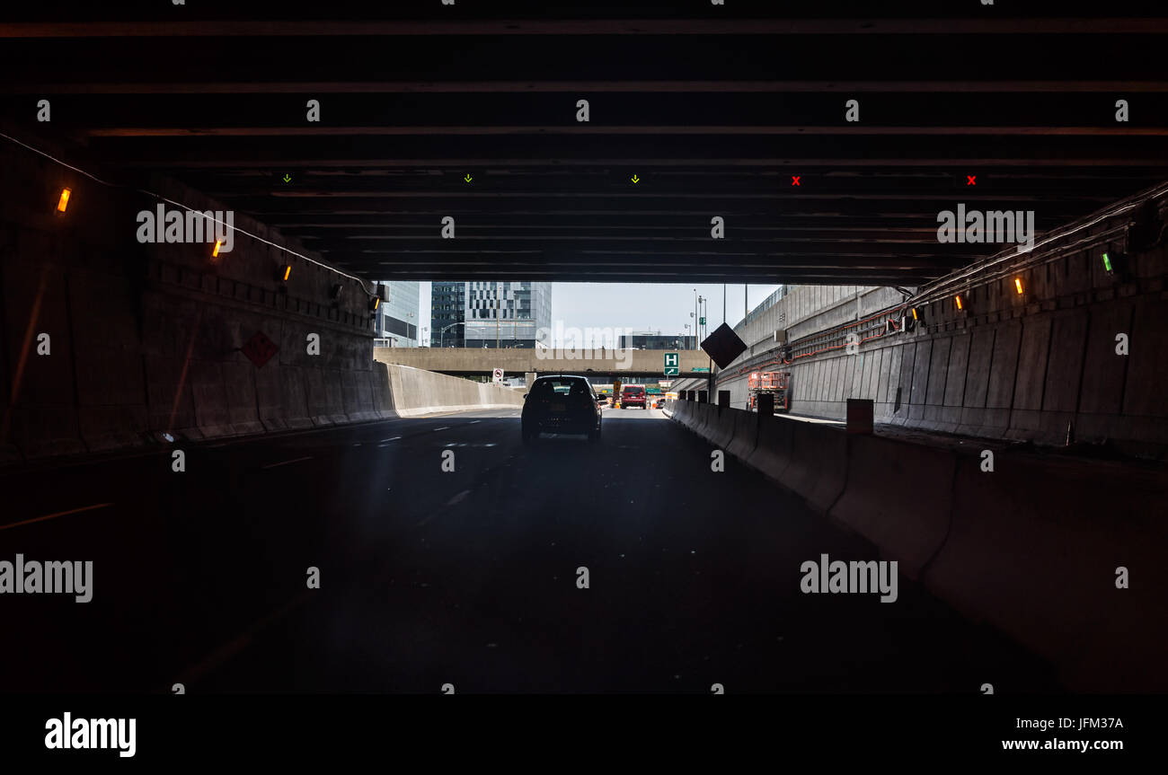 Montreal, Canada - May 28, 2017: Tunnel on Autoroute 720 expressway Ville Marie in Quebec region city Stock Photo