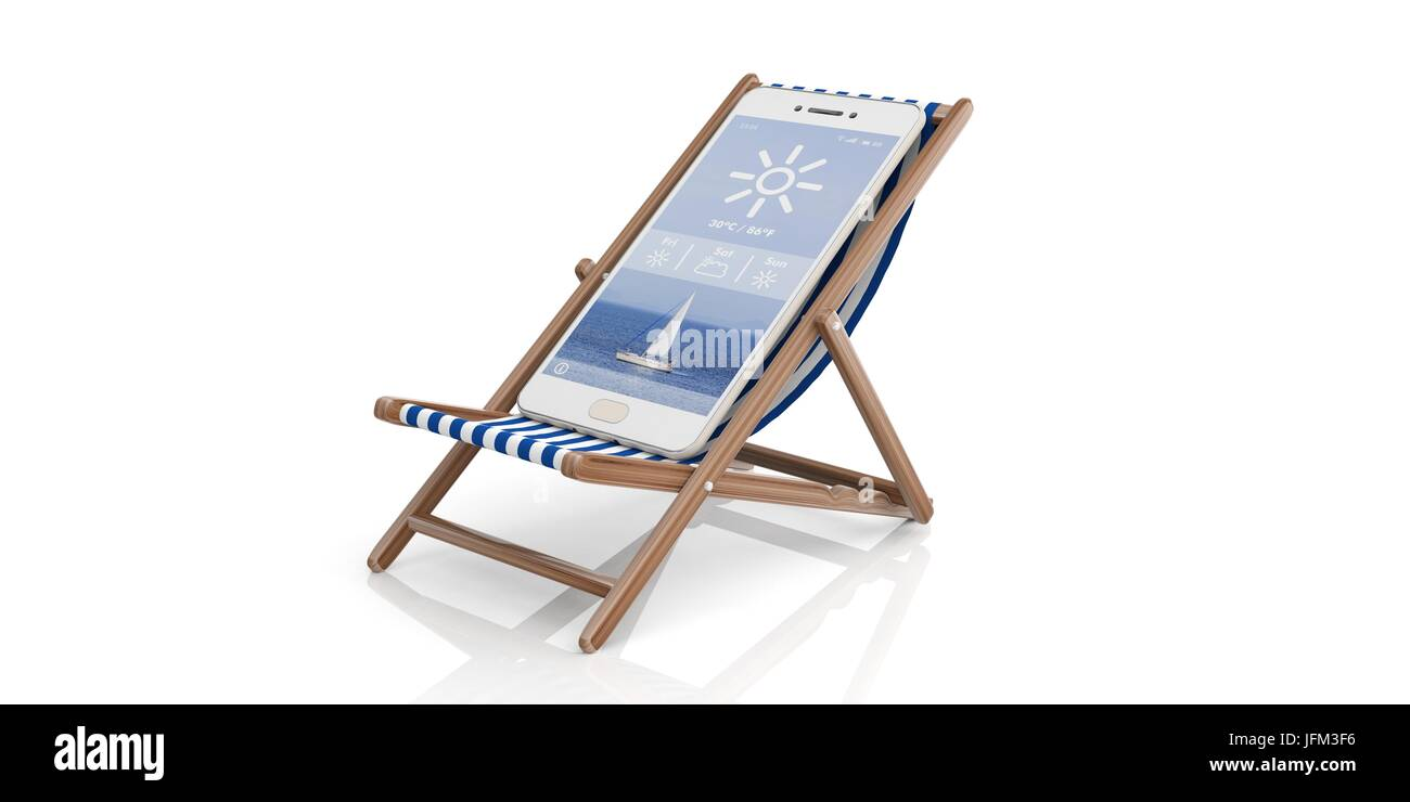 Summer vacation. Deck chair and a smartphone - white background. 3d illustration - Stock Image