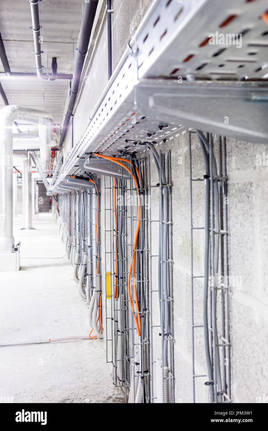 Electrical cables are located in a cableway in a building Stock ...