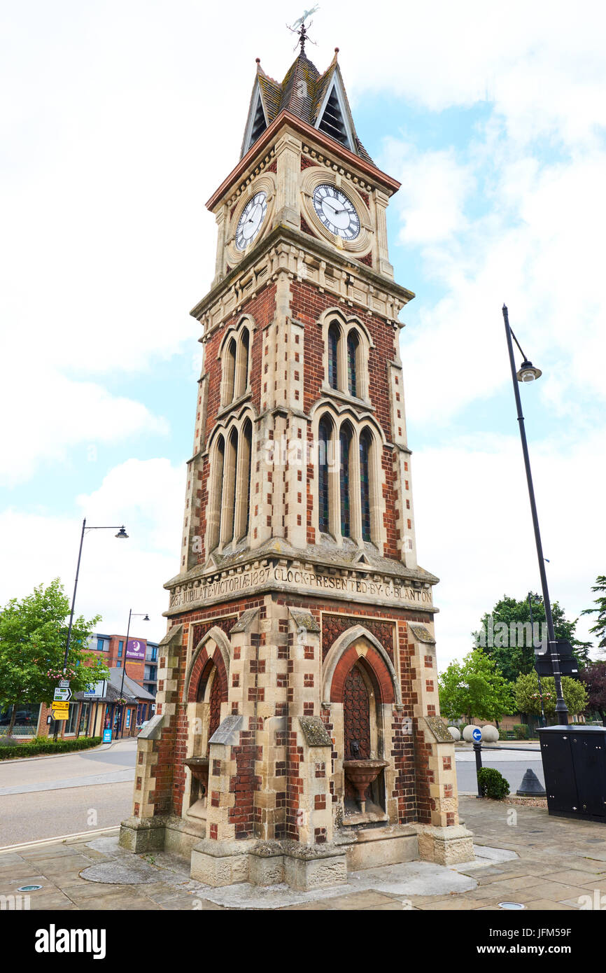 Clock Tower Built In 1887 To Commemorate Queen Victorias Diamond Jubilee, High Street,  Newmarket, Suffolk, UK - Stock Image