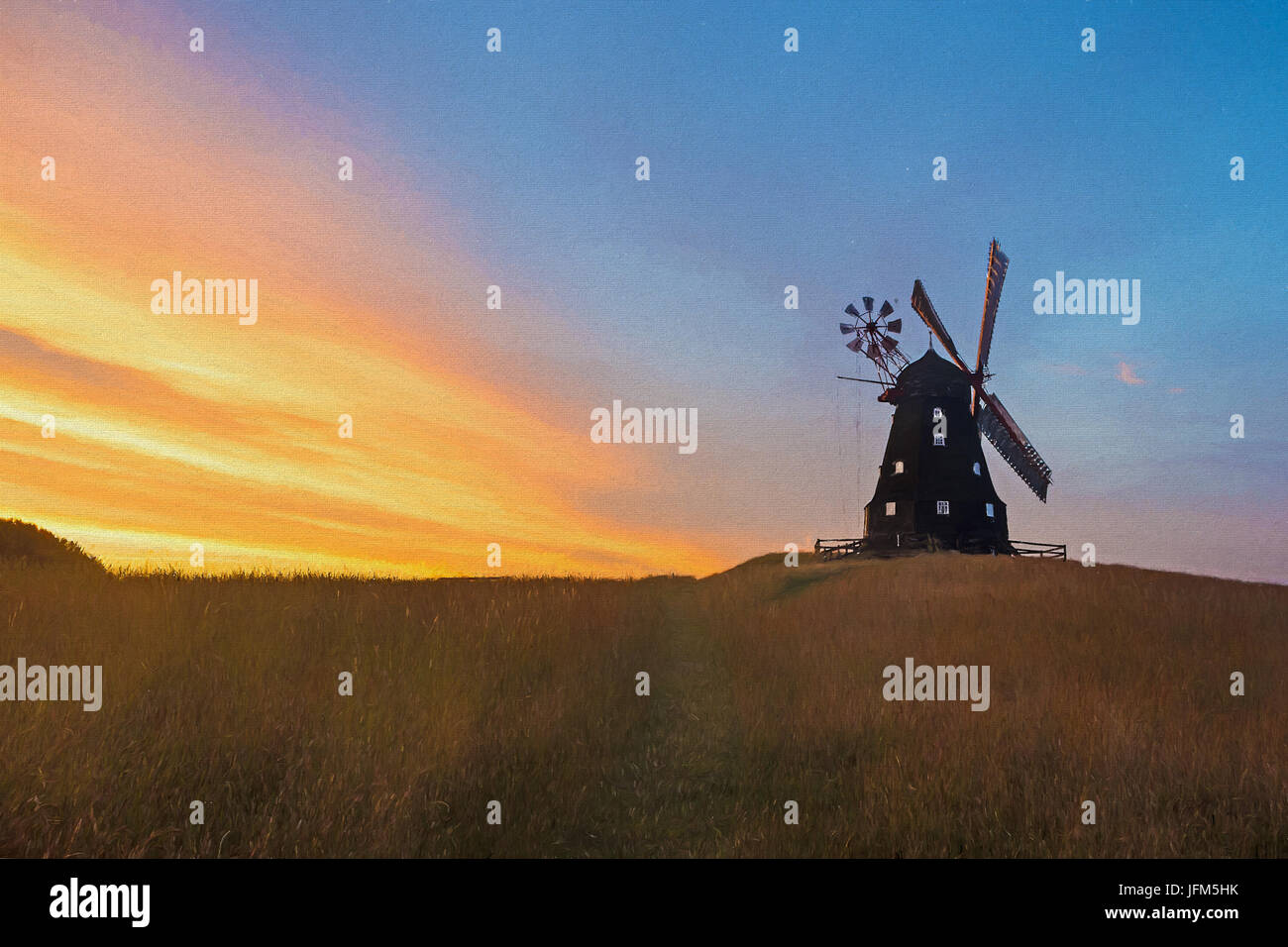 Digital Painting of a Windmill - Stock Image
