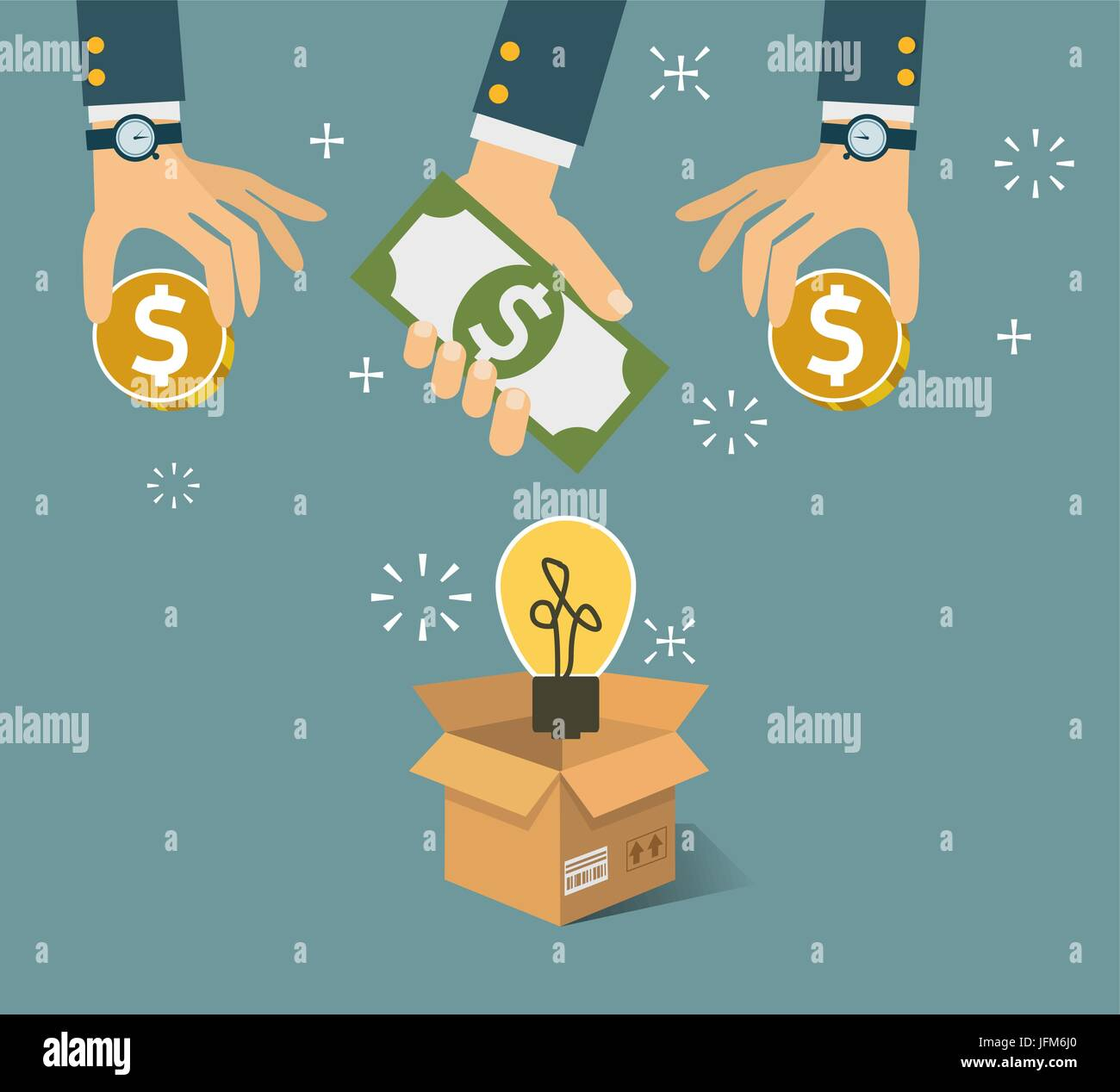 Vector crowdfunding concept in flat style - new business model - Stock Image