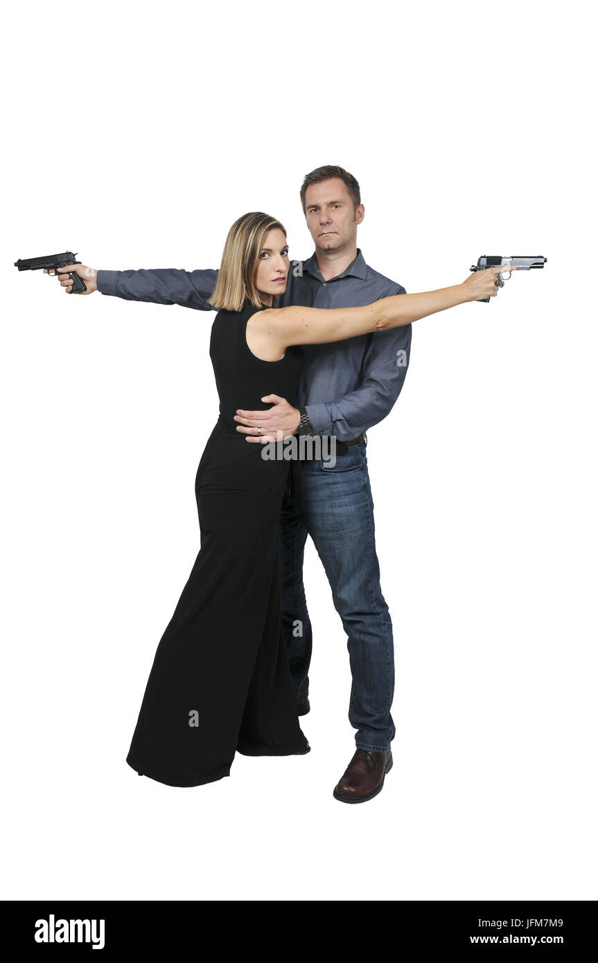 Man and woman spies - Stock Image