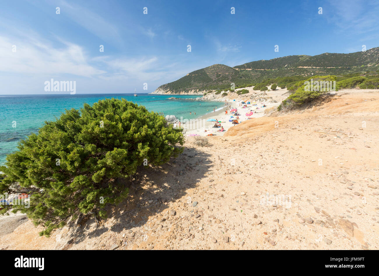 The mediterranean vegetation frames the beach and the turquoise sea ...